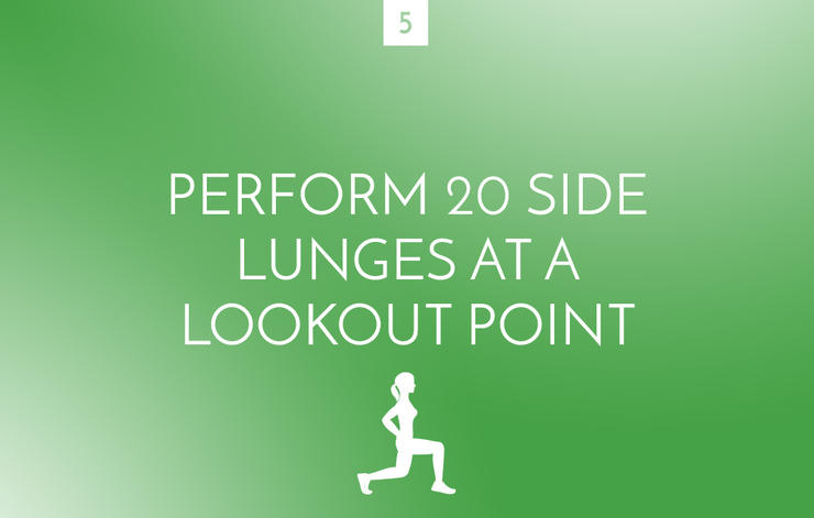 Side lunges at a lookout point