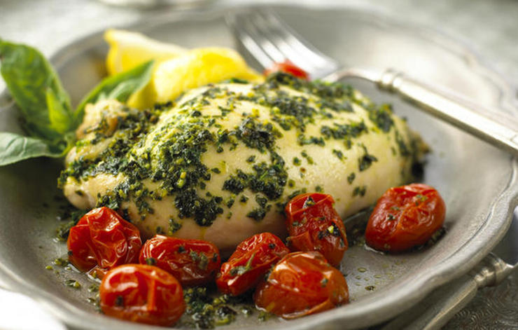 Basil and Lemon-Roasted Chicken Breasts