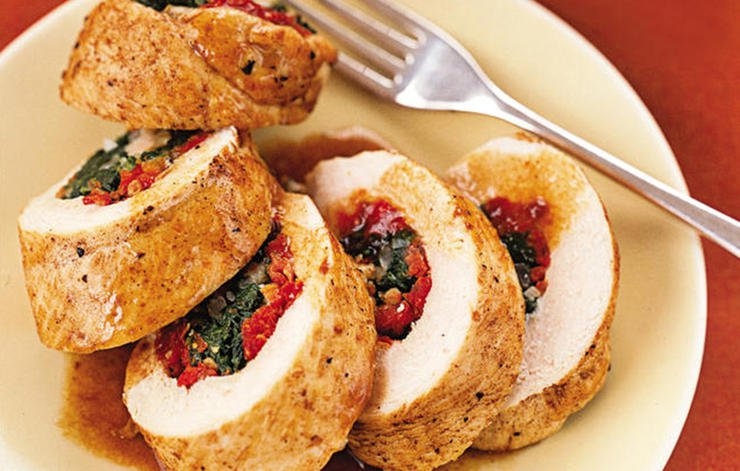 Spinach Stuffed Chicken Roulade