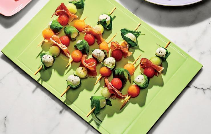 Melon caprese skewers