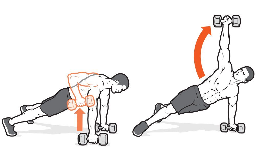 Renegade row to plank dumbbell raise