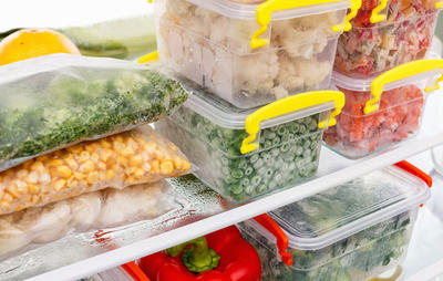 food containers in freezer